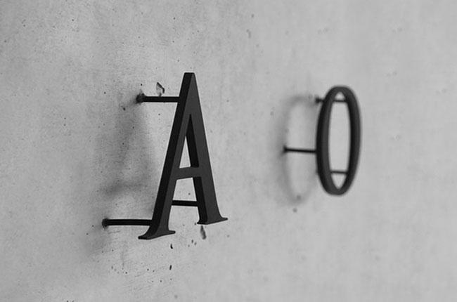 A&O 2D Buchstabe an der Wand montiert