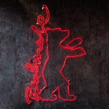 Red Berlinale bear as neon motif