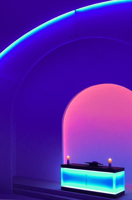 Blue light in a room as an exhibition by neon artist James Turrell