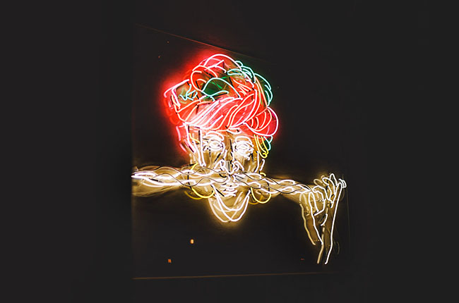 Illuminated motif spaghetti beard made of neon light