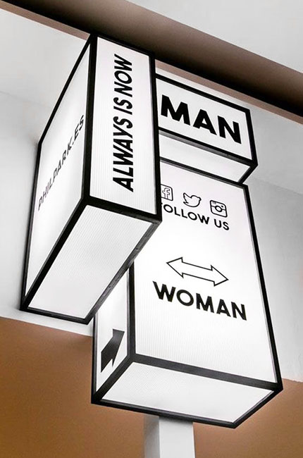 An information lightbox that shows different places like the way to the toilet