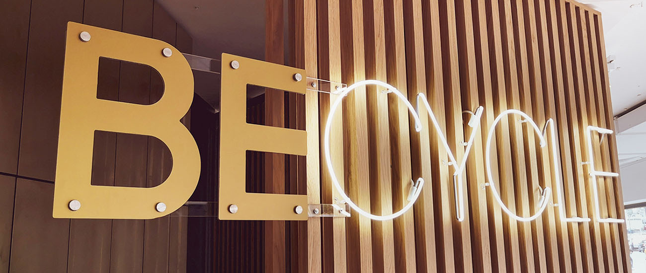 Becycle Berlin logo from 2D and neon light