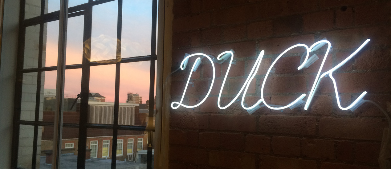 "Neon sign with the words ""Duck"" installed on a wall"