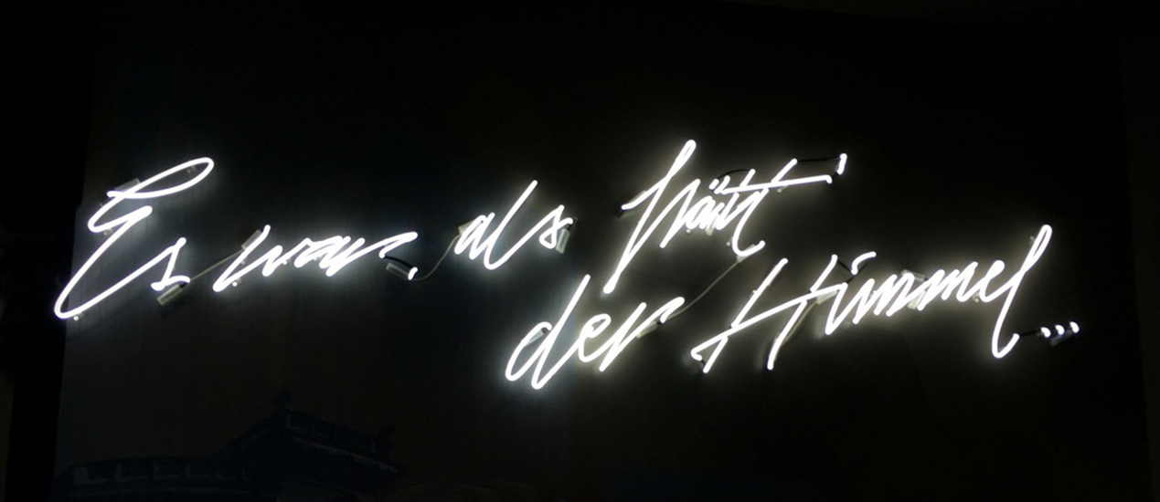 "neon sign with the words ""It was like the sky"""