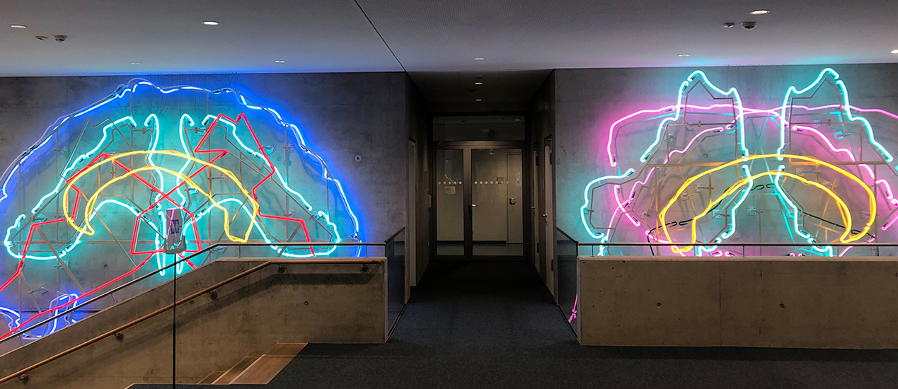 Neon art made of two halves of the brain with changing lights installed in the University of Lübeck