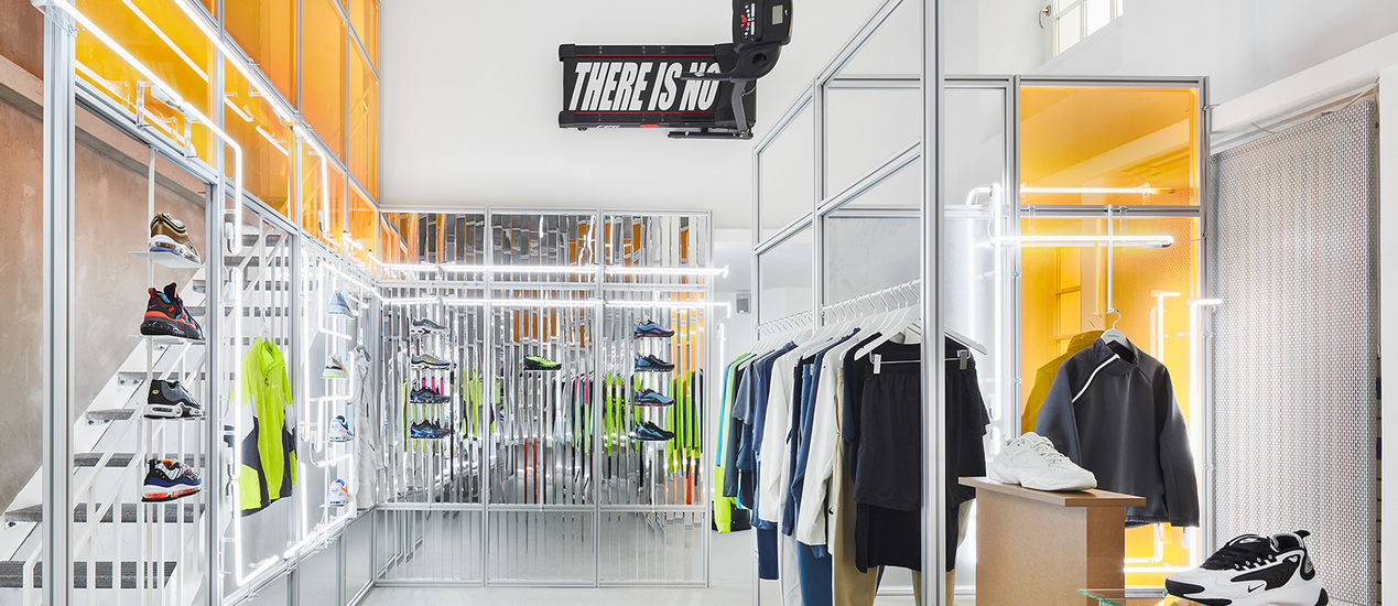 Nike showroom clad with neon tubes