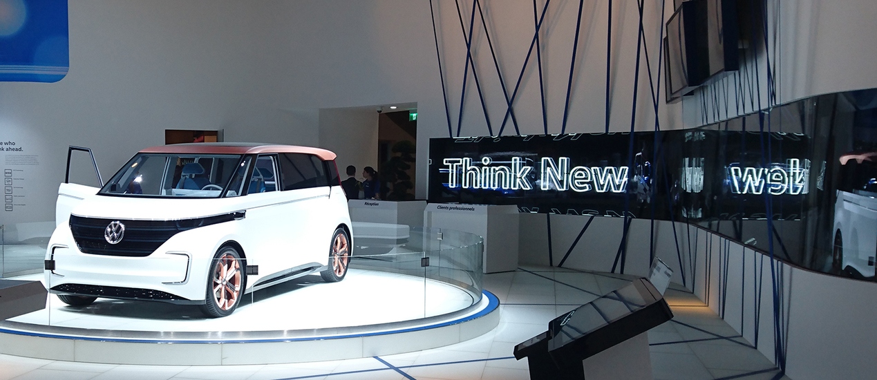 Neon light installed by VW on a trade show booth