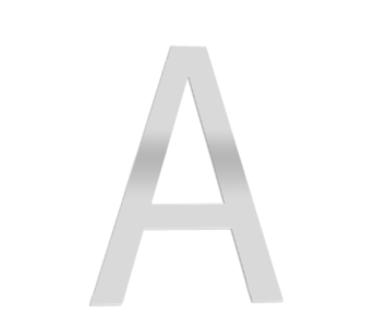 "Technical drawing of the product 2D letter directly to the wall with the letter ""A"""
