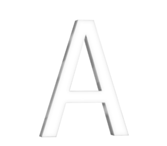 "Technical drawing of the product 3D pure design letter with the letter ""A"""