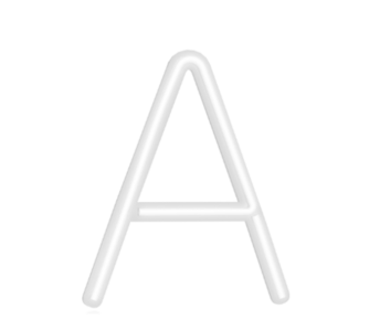 "Technical drawing of the product LED Neon with the letter ""A"""