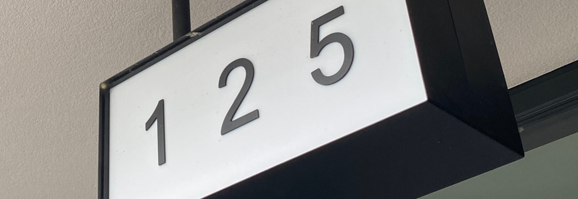 A lightbox with 125 number