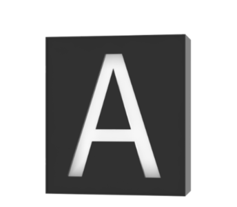 "Technical drawing of the product light box frontal with the letter ""A"""