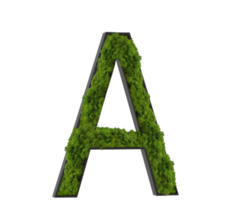 "Technical drawing of the product moss designs with the letter ""A"""