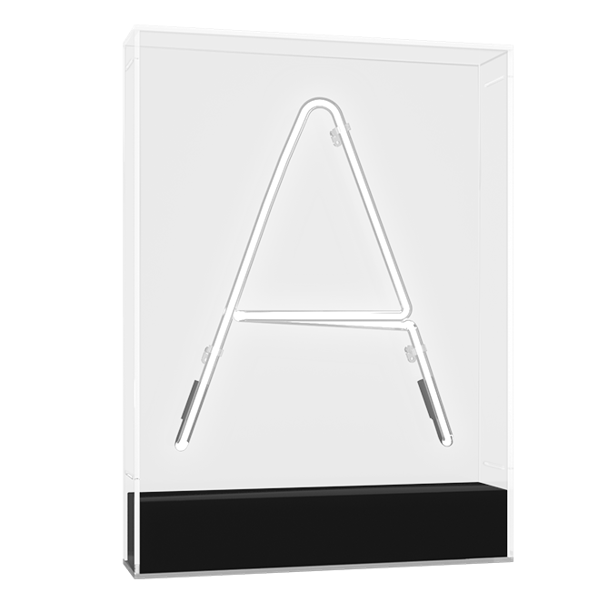 "Technical drawing of the product Neon in an acrylic box with the letter ""A""."