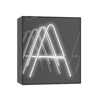 "Technical drawing of the product Neon in a mirror box with the letter ""A"""