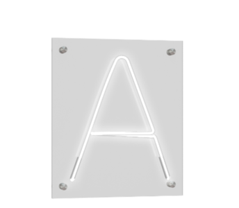 "Technical drawing of the product Neon mounted directly on the wall with the letter ""A""."